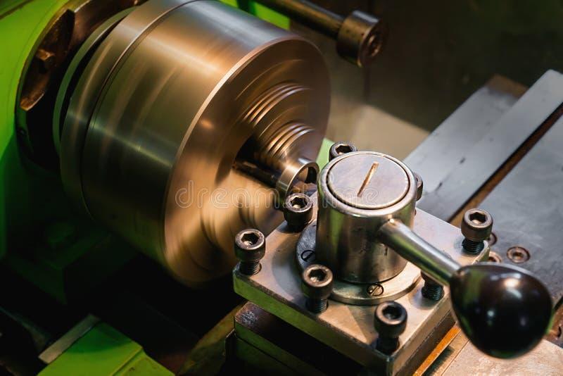 Metal lathe at work stock images
