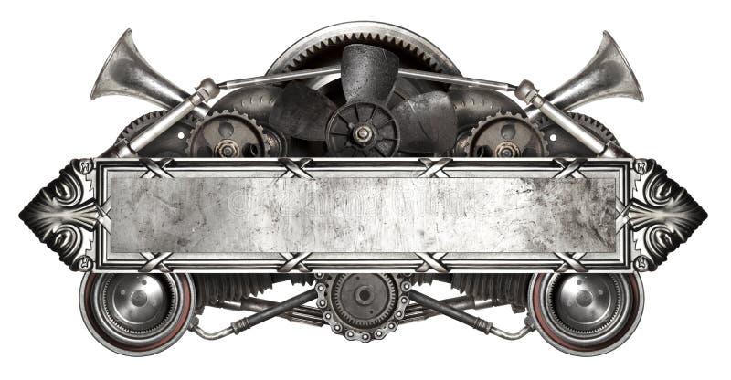 Metal le cadre et la vieille voiture automatique de pièces de rechange d'isolement photos libres de droits