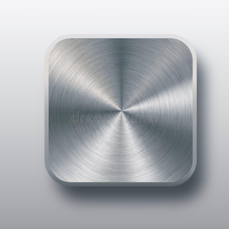 Metal le calibre vide de bouton avec la texture de chrome, l'ombre réaliste et le fond clair pour des interfaces utilisateurs d'u illustration libre de droits