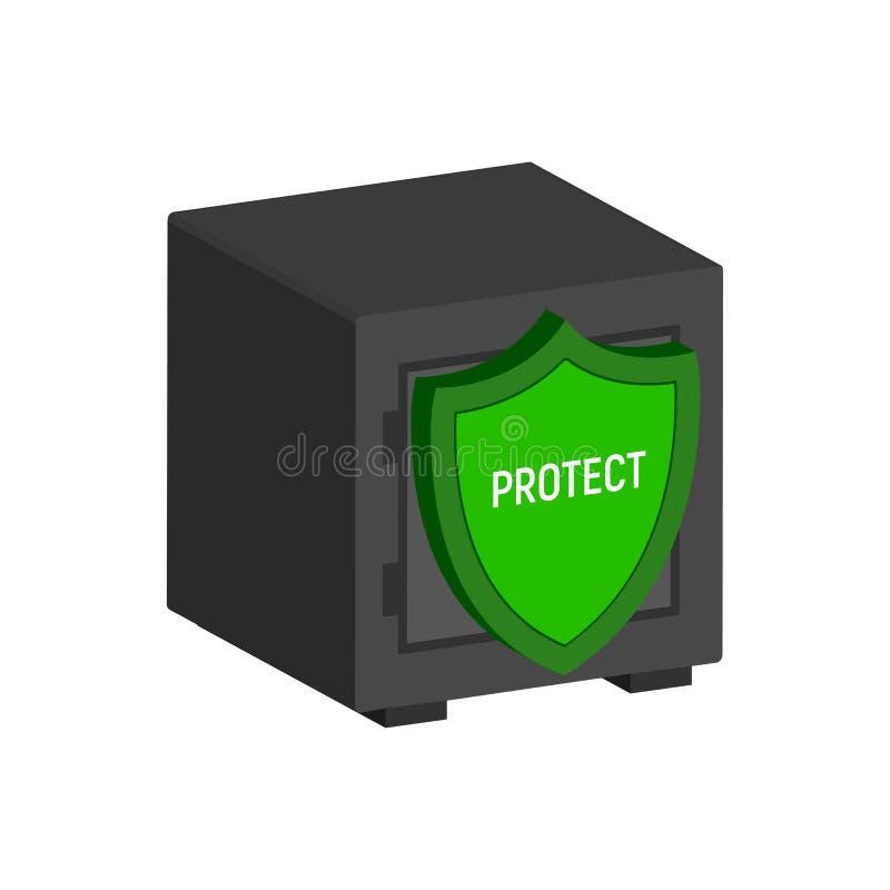 Metal le coffre-fort avec le bouclier, symbole financier de protection illustration libre de droits