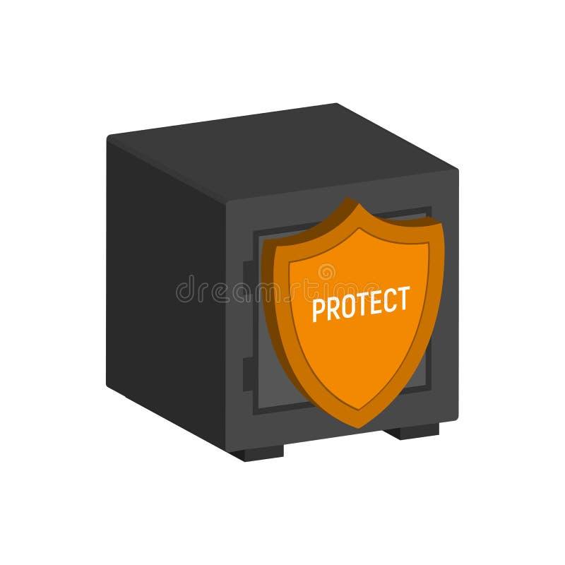 Metal le coffre-fort avec le bouclier, symbole financier de protection illustration stock