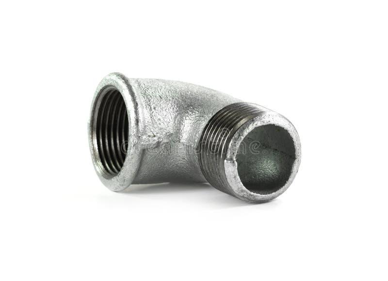 Metal les ferrures de coude pour des tuyaux, fond blanc d'isolement Outils et matériaux pour les travaux sanitaires illustration de vecteur