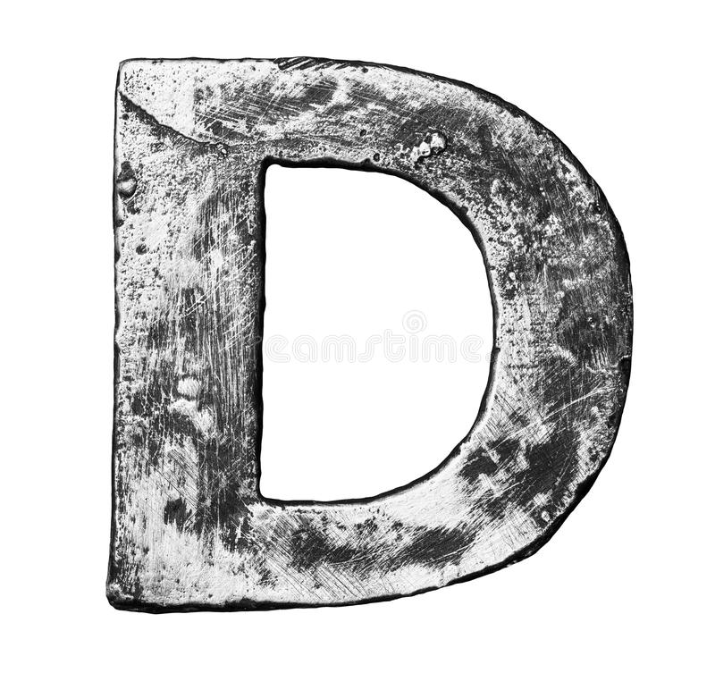 Metal letter. Metal alloy alphabet letter D stock photo
