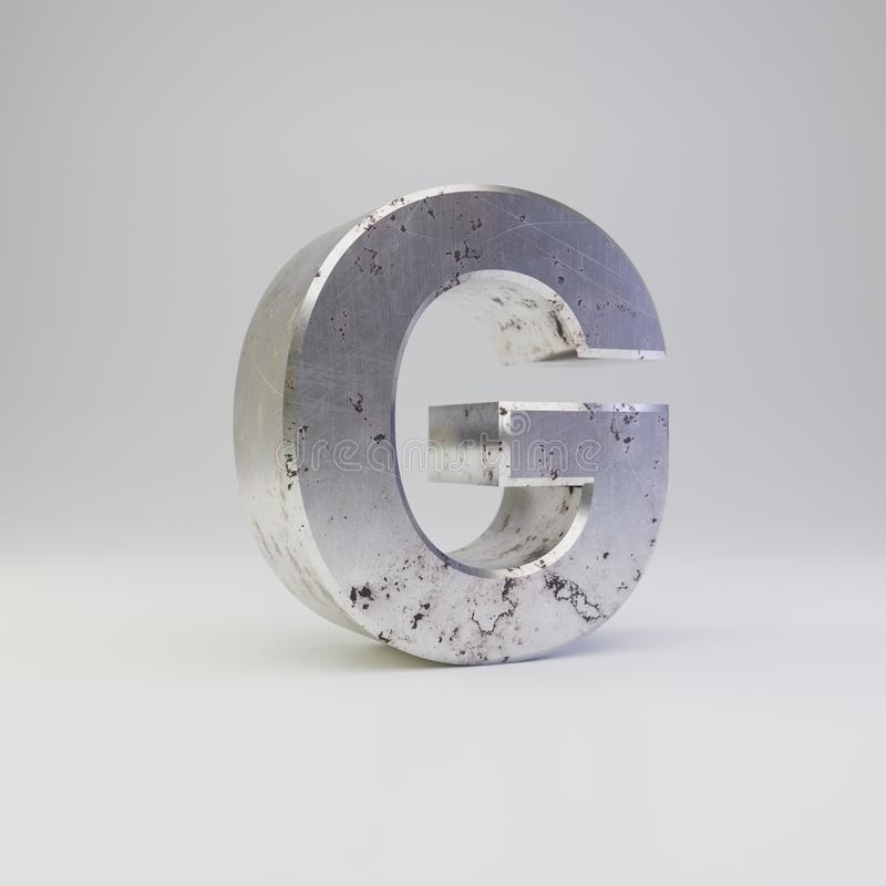 Metal letter G uppercase. 3D render scratched rusty metal font isolated on white background vector illustration