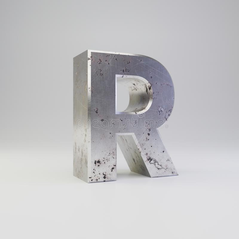 Metal letter R uppercase. 3D render scratched rusty metal font isolated on white background royalty free illustration