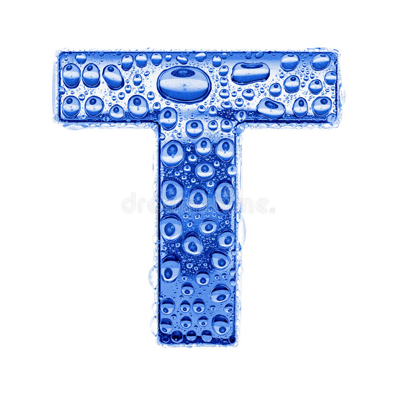 Metal letter & water drops - letter T royalty free stock photo