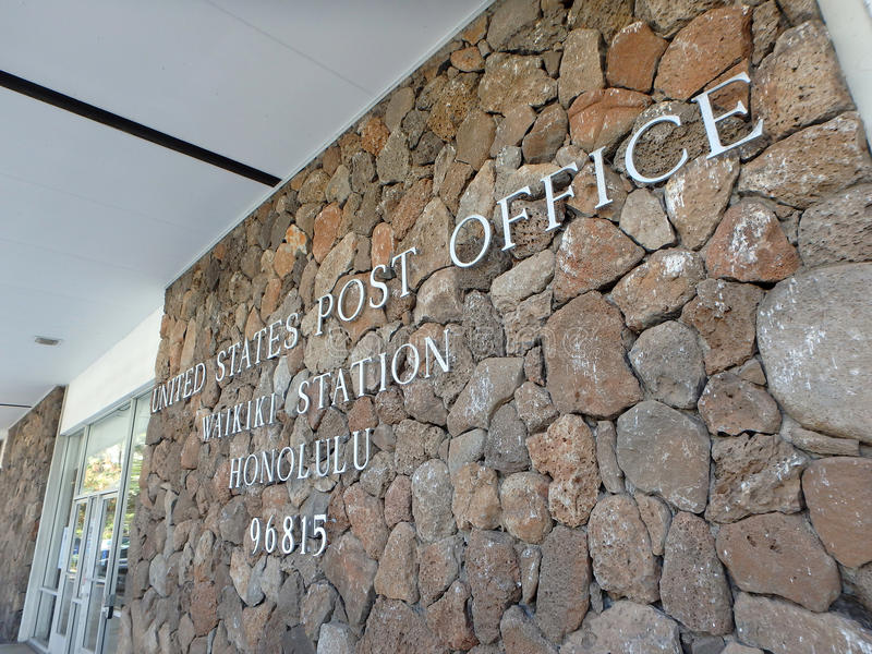 Metal letters that spell United States Post Office, Waikiki Stat stock photography