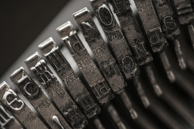 Metal letters on typewriter. Close up macro royalty free stock photos