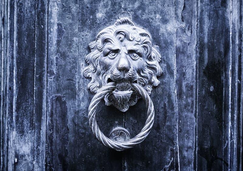 Metal lion doorknob - Concept for antique, gothic, mistery stock photo