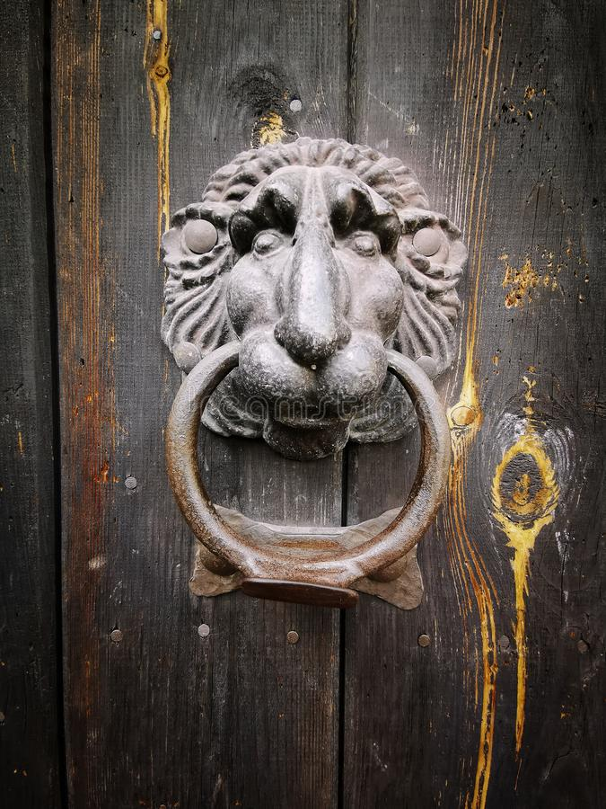 Metal lion knocker with wooden gate royalty free stock images
