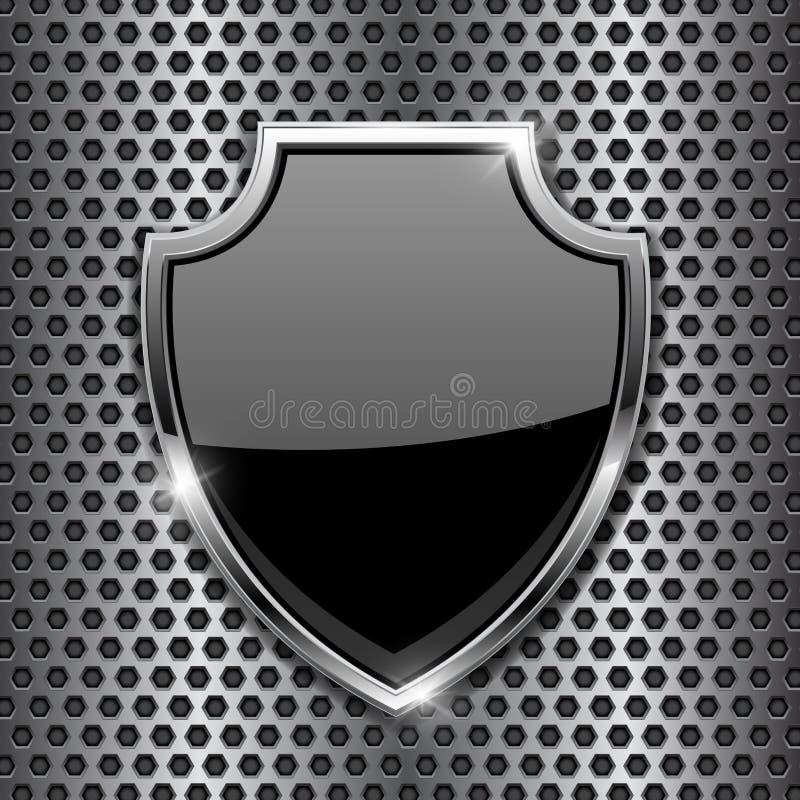 Metal lo schermo nero 3d su fondo perforato metallo illustrazione vettoriale