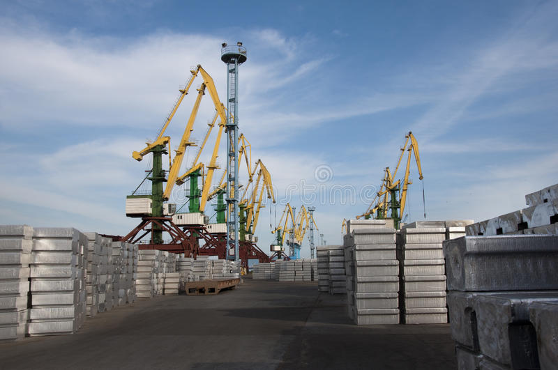 Metal loading in the port stock photography