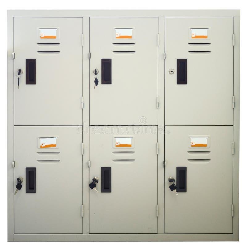 Metal Locker. Isolated on white stock photos