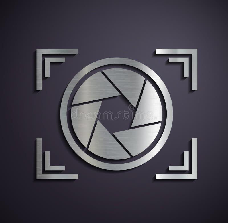 Metal logo camera. royalty free illustration