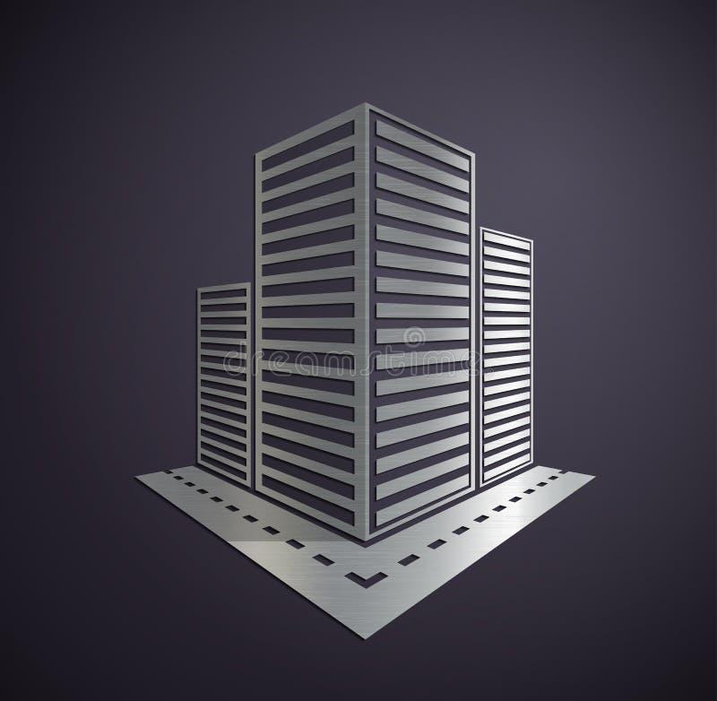 Metal Logo of the real estate. vector illustration