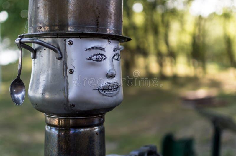 Metal man staring with wonder look royalty free stock images
