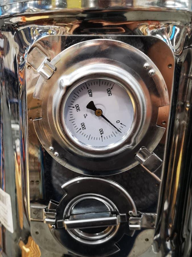 Metal manometer. Detail of metal manometer on a store royalty free stock photos