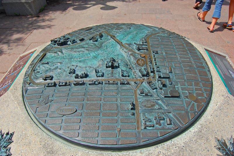Metal map of downtown Ottawa, Canada royalty free stock photos