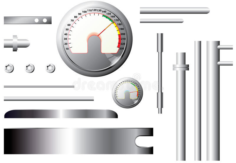 Metal measuring elements and pipes - set - vector royalty free illustration