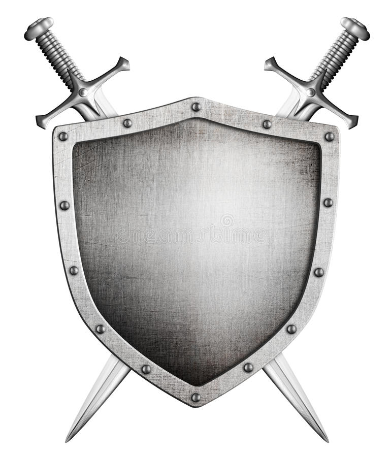 Free Metal Medieval Shield And Crossed Swords Behind Coat Of Arms Stock Photo - 39960480