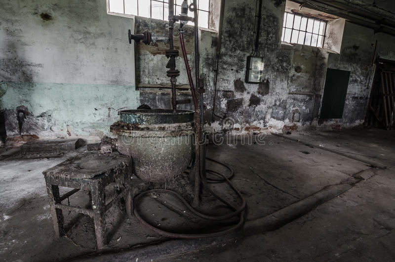 Metal melt in factory. Metal melt with boilers in old factory royalty free stock photo