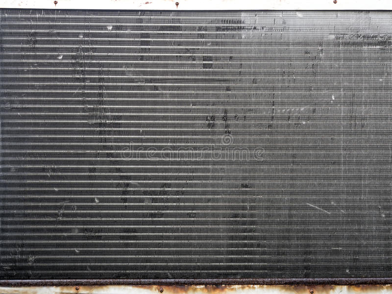 metal mesh on heat transfer of air conditioner unit stock photo