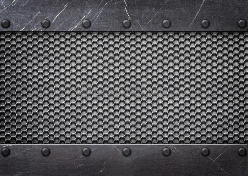 Metal mesh reinforced plates and rivets, background. Steel mesh pattern with metal plates and rivets vector illustration