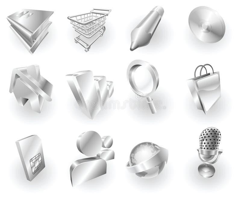 Download Metal Metallic Web And Application Icon Set Stock Vector - Image: 14547422
