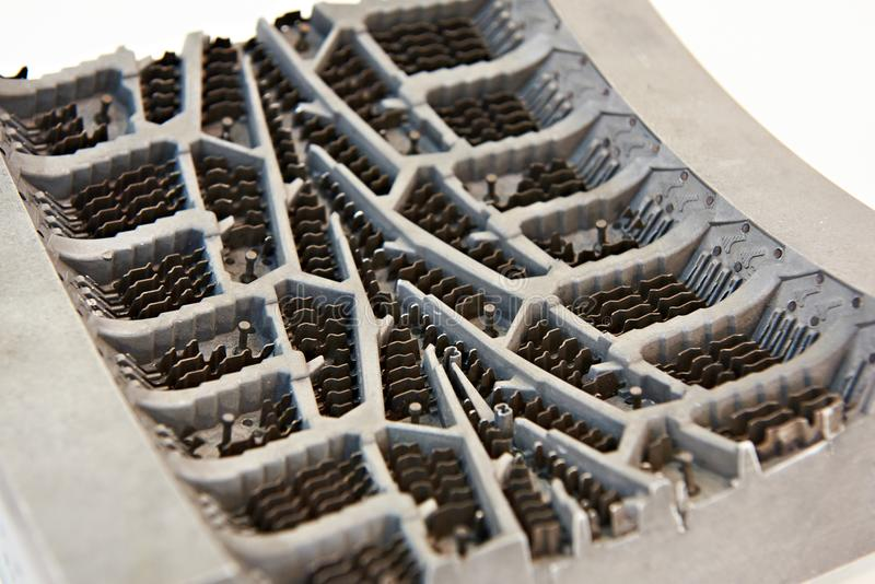 Metal mold for casting rubber tires stock image