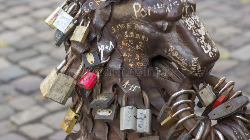Metal monument with lockers of lovers royalty free stock images