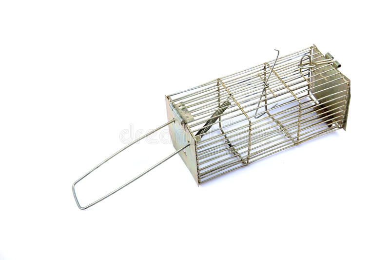 Metal mouse trap. Isolated on white background stock image