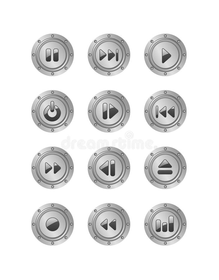 Download Metal music buttons set 2 stock vector. Image of push - 10975769