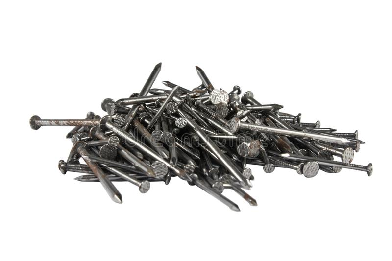Metal nails isolated on white background stock photography