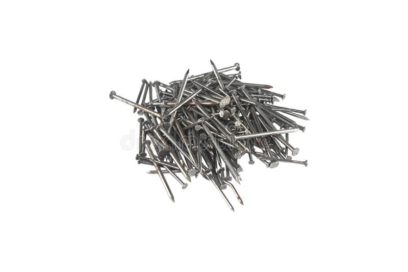 Metal nails isolated on white background stock photos