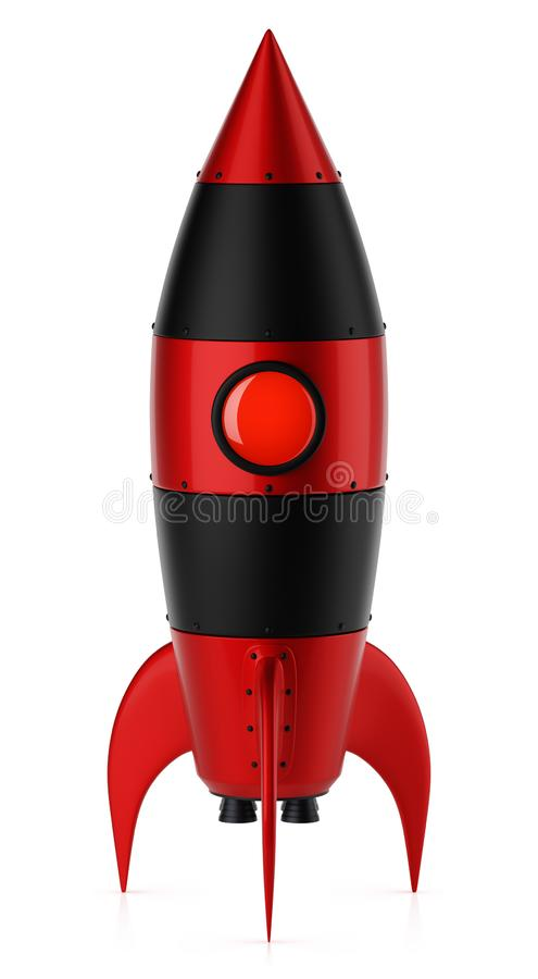 Metal negro rojo Rocket Isolated en el fondo blanco stock de ilustración