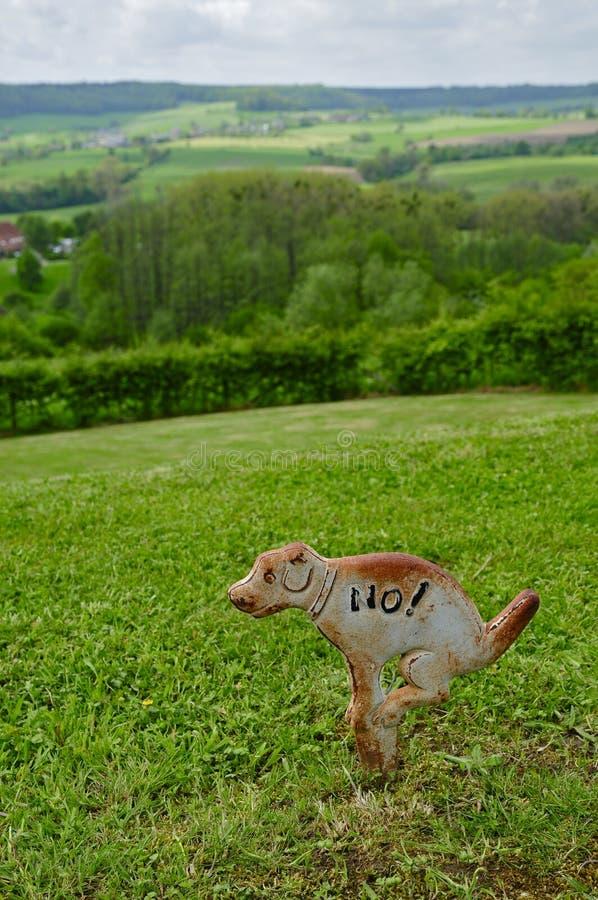 Metal No Dog Pooping Sign stock photos