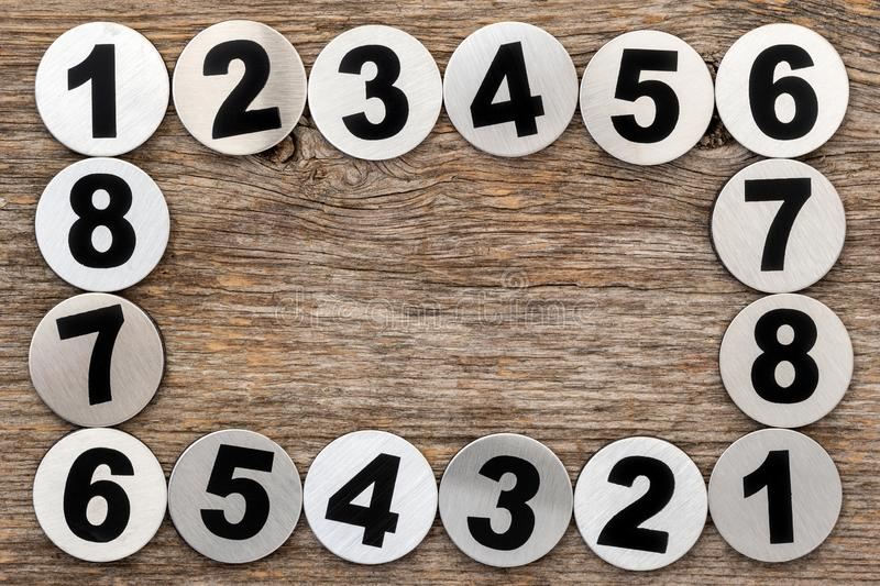 Metal numbers frame stock image