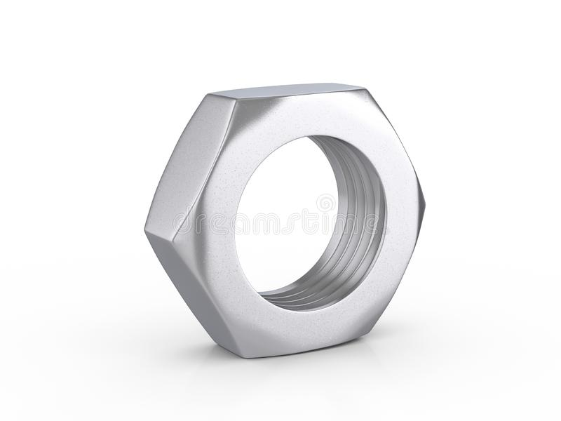 Metal nut. On a white background. 3d illustration royalty free illustration