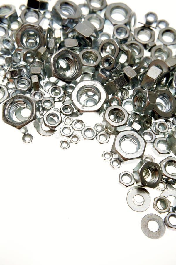 Metal nuts stock image