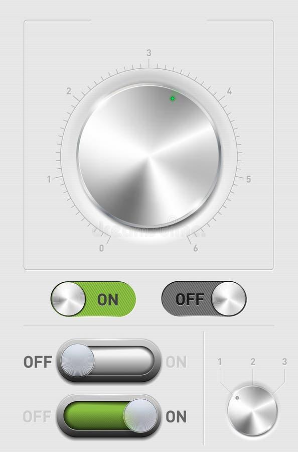 Metal o botão do volume, -FORa no interruptor e no cambiador ilustração royalty free