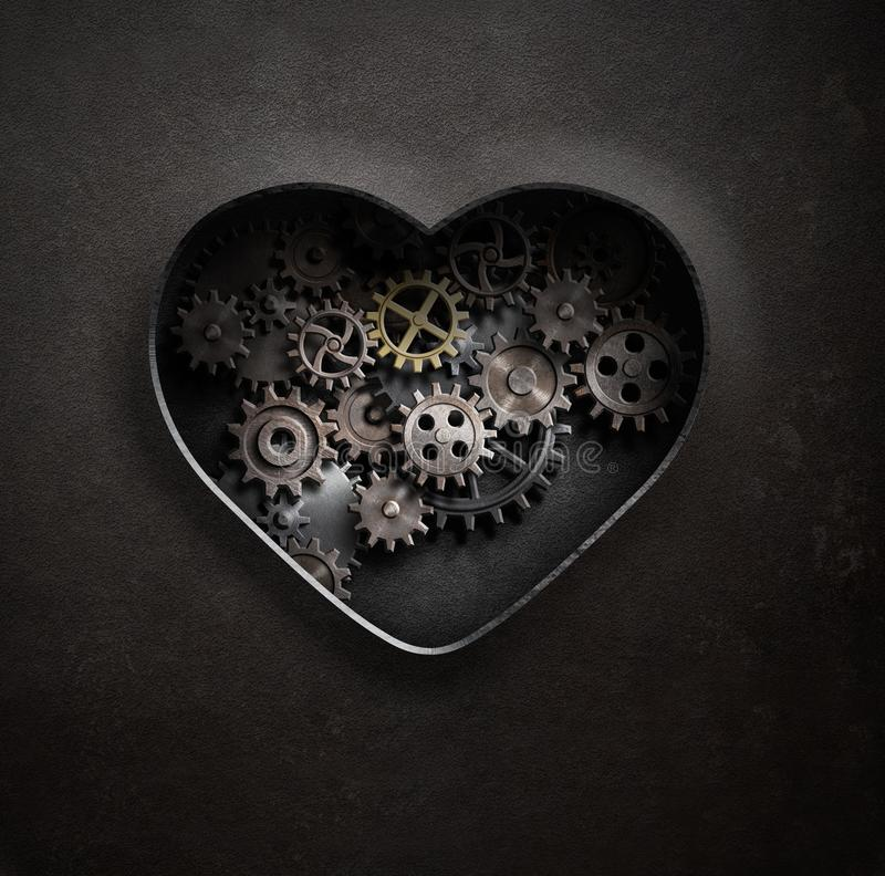 Metal o coração com ilustração das engrenagens e das rodas denteadas 3d ilustração do vetor