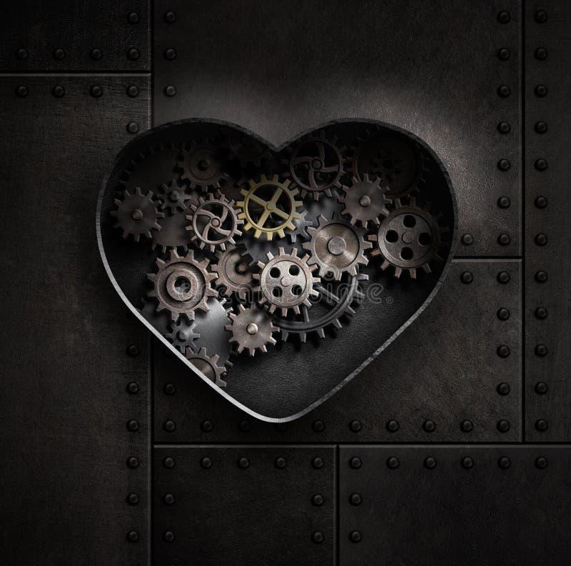 Metal o coração com ilustração das engrenagens e das rodas denteadas 3d fotos de stock royalty free