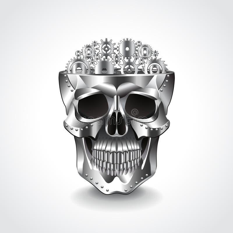 Metal o crânio, cérebro da ilustração do vetor das engrenagens ilustração royalty free