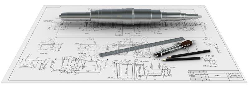 Metal o eixo, os compassos, as réguas e os lápis em um e ilustração stock