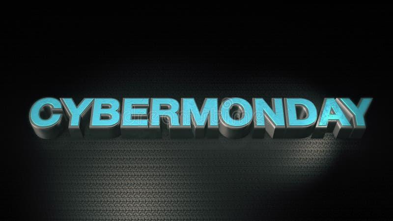 Metal o mondey do Cyber do texto 3D com reflexão e ilumine-o ilustração stock