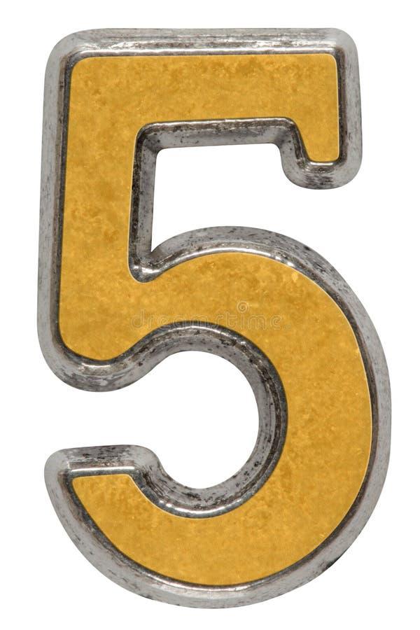 Metal o numeral 5 cinco, isolado no fundo branco foto de stock