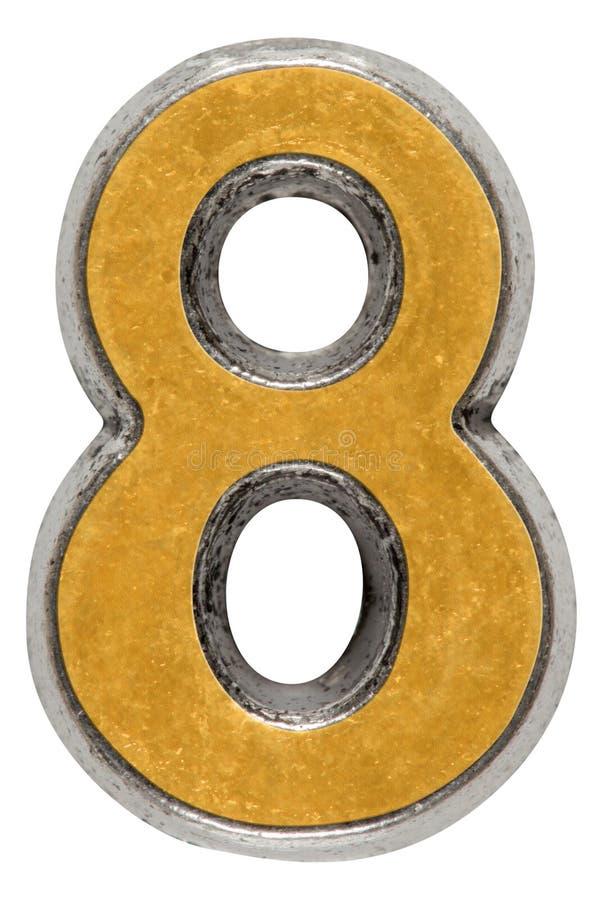 Metal o numeral 8 oito, isolado no fundo branco imagens de stock royalty free