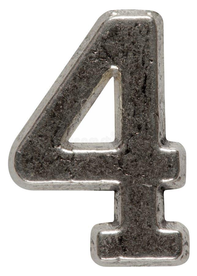 Metal o numeral 4 quatro, isolado no fundo branco, com clippin foto de stock royalty free