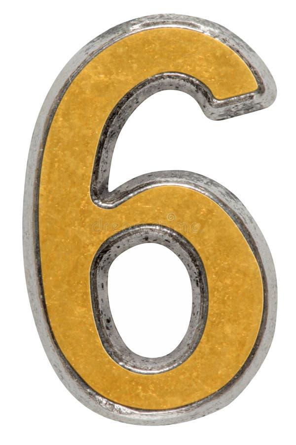 Metal o numeral 6 seis, isolado no fundo branco imagem de stock royalty free