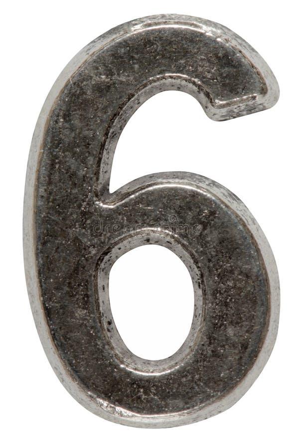 Metal o numeral 6 seis, isolado no fundo branco, com grampeamento fotografia de stock royalty free